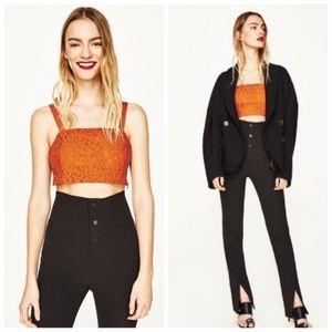 Zara Woman Basic Collection Crop Top Orange Lace